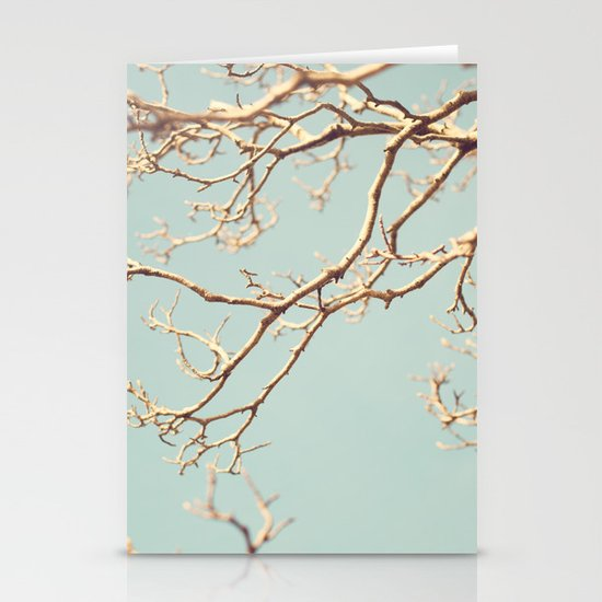 Pale Blue Winter (Tree branches on a retro pale blue sky) Stationery Card