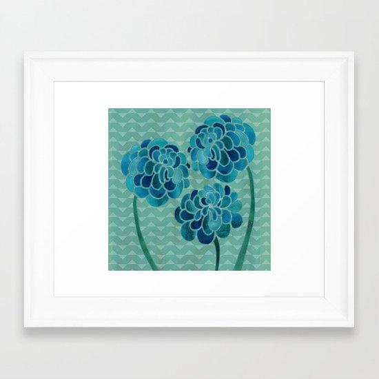 Blue Chrysanthemums Framed Art Print