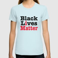 BLACK LIVES MATTER Womens Fitted Tee Light Blue SMALL