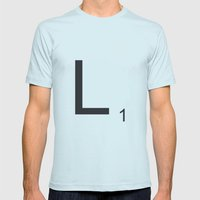 Scrabble L Mens Fitted Tee Light Blue SMALL