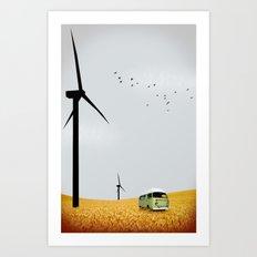 green wagon Art Print