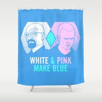 WHITE & PINK MAKE BLUE Shower Curtain