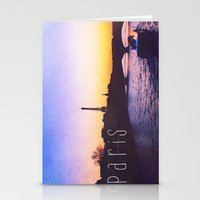 Sunset Over Seine River,… Stationery Cards