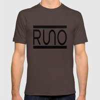 Rue Nothing RUNO Logo Bordered Mens Fitted Tee Brown SMALL