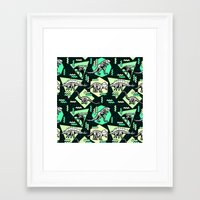 90's Dinosaur Skeleton Neon Pattern Framed Art Print