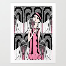 Art deco lady (black and white) Art Print