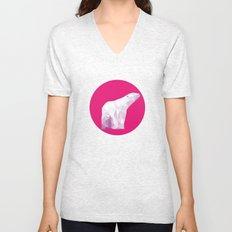 Magenta Polar Bear Unisex V-Neck