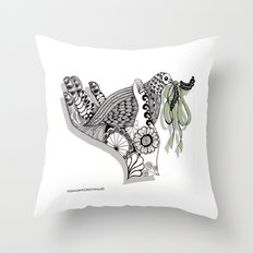 Zentangle Illustration - Peace Dove  Throw Pillow