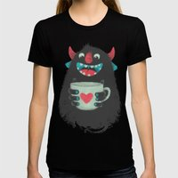 Demon with a cup of coffee Womens Fitted Tee Black SMALL