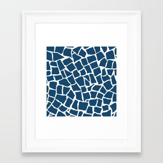 Mosaic Zoom Navy Framed Art Print