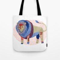 Blue Floral Lion Tote Bag