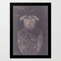 2 Pug Art Print