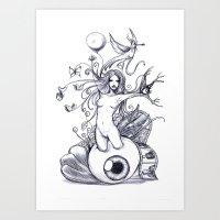 Girl unconscious Art Print