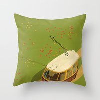 Trolley Rides The Field Throw Pillow