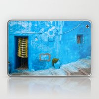 Moroccan House with Blue Wall and Green Curtain. Laptop & iPad Skin