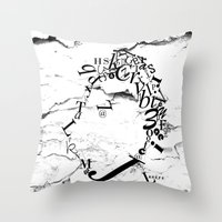 Typeface Distressed Throw Pillow