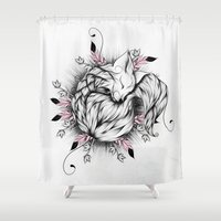 Little Fox Pink Version  Shower Curtain