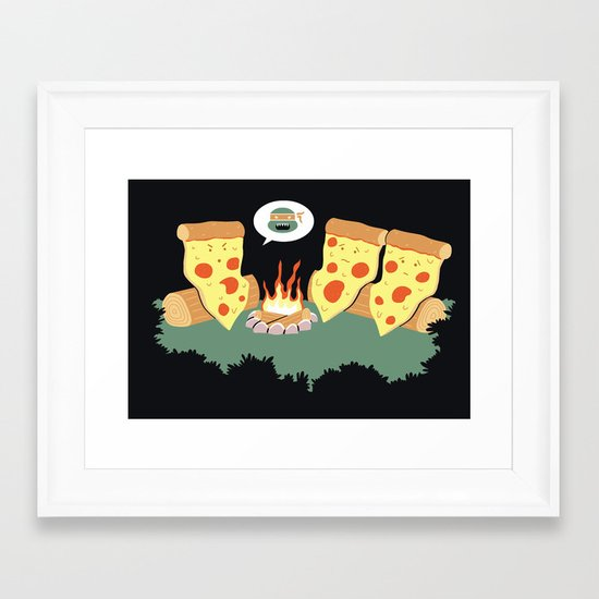 Campfire Tales Of A Pepperoni Pizza Framed Art Print