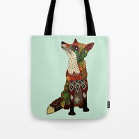 fox love mint Tote Bag