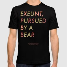 Shakespeare - The Winter's Tale - Exeunt Exit Pursued by a Bear SMALL Mens Fitted Tee Black
