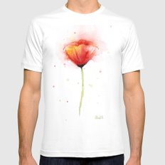Poppy Flower Watercolor Abstract Red Floral Painting SMALL White Mens Fitted Tee