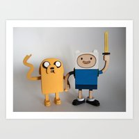 Wooden Toy Finn & Jake Art Print
