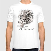 Tiger (BornInNature) Mens Fitted Tee White SMALL