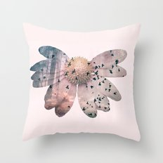Double exposure flower Throw Pillow