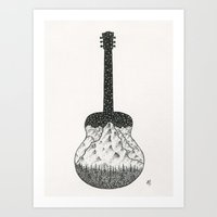 guitar Art Prints featuring Guitar by Mattias Fridh