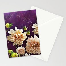 Dahlias in Space Stationery Cards
