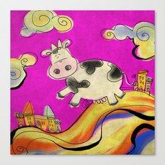 Cow - magenta Canvas Print
