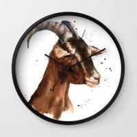 Goat, billy goat, goat painting, goat print, cute animal art, watercolor animals, animal paintings Wall Clock