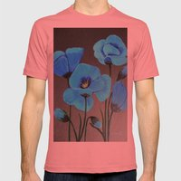 Blue Poppies  Mens Fitted Tee Pomegranate SMALL