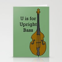 U is for Upright Bass Stationery Cards
