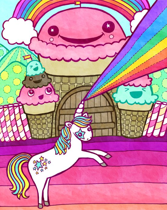 Unicorn and Ice Cream Kingdom Art Print