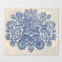 Indigo Blue Denim Ink Doodle Canvas Print