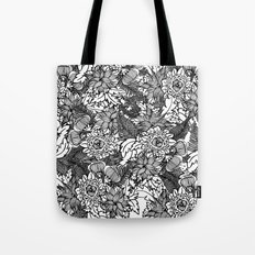 Black and White Flower Pattern 1 Tote Bag
