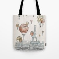 Tote Bag featuring Voyages Over Paris by David Fleck
