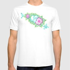 Om Sharpie Doodle White SMALL Mens Fitted Tee