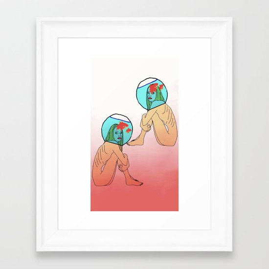 Drowning in a fish bowl Framed Art Print