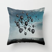 In Limbo - black balloons Throw Pillow