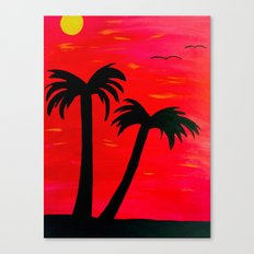 Palm trees in sunset Canvas Print