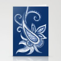 Lace Paisley: Blue Tonal… Stationery Cards