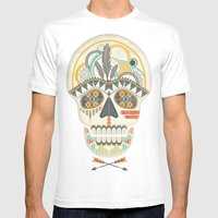AZTEC SKULL B/W  Mens Fitted Tee White SMALL
