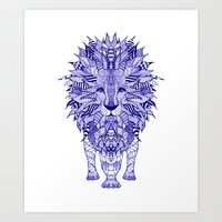 lion Art Prints featuring LIon by Monika Strigel