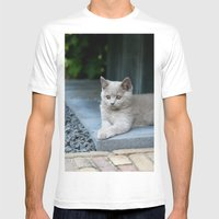 Bikkel The Cat ! Mens Fitted Tee White SMALL
