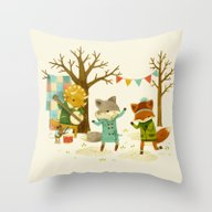 Throw Pillow featuring Critters: Spring Dancing by Teagan White