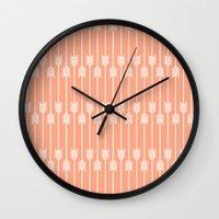 Peach And White Arrows Wall Clock