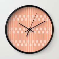 Peach and White Arrows /// www.pencilmeinstationery.com Wall Clock