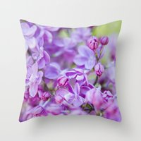 Lilac, Nature Photography, Blossom Print, Purple Wall Art, Spring Blossom Photo, Feminine Throw Pillow